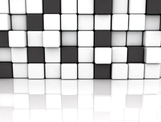 Black and white cubes, illustration
