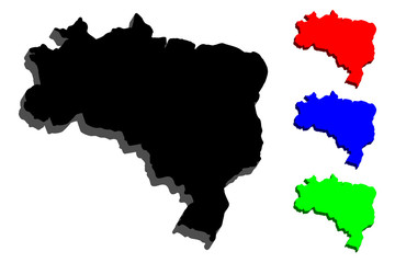 3D map of Brazil (Federative Republic of Brazil) - black, red, blue and green - vector illustration