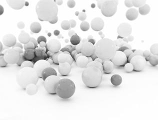 White and grey spheres, illustration