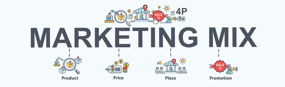 Marketing mix 4P banner web icon for business and marketing, price, place, promotion, product. Minimal vector infographic.