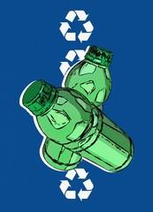 Plastic recycling, conceptual illustration
