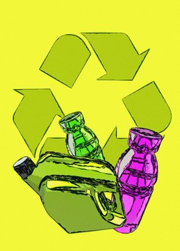 Plastic recycling, conceptual illustration