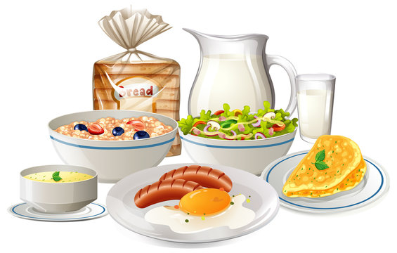 Set of breakfast food