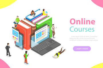 Flat isometric vector concept of online courses, education, e-learning, webinar, training