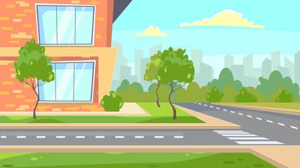 School building near road vector illustration. Green trees around brick building. City illustration