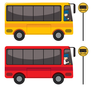 A Set of Red and Yellow Bus