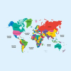 Colorful World political map with with country name.