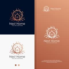 Nest house logo. Real estate logo