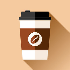 Coffee cup in flat style on color background. Drink with you. Simple object. Vector design element for your business project