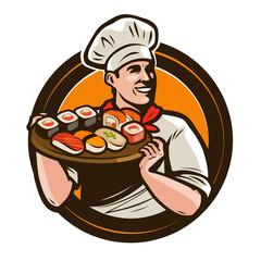 Sushi food logo or label. Seafood, restaurant emblem. Vector illustration