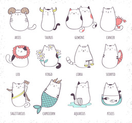 Set of cute cartoon zodiac cat. Vector illustration of twelve zodiacal symbols collection: Aries, Taurus, Gemini, Cancer, Leo, Virgo, Libra, Scorpio, Sagittarius, Capricorn, Aquarius, Pisces