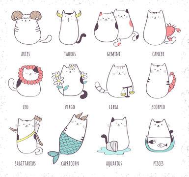 Set of cute cartoon zodiac cat. Vector illustration of twelve zodiacal symbols collection: Aries, Taurus, Gemini, Cancer, Leo, Virgo, Libra, Scorpio, Sagittarius, Capricorn, Aquarius, Pisces