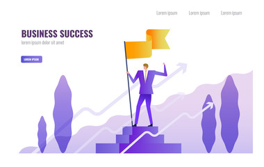 Businessman standing and holding flag on the podium. Business Successful and  Leadership  concept. vector illustration