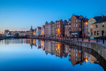 night view of leith by the river