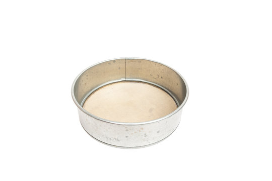 used metal sieve isolated on white background