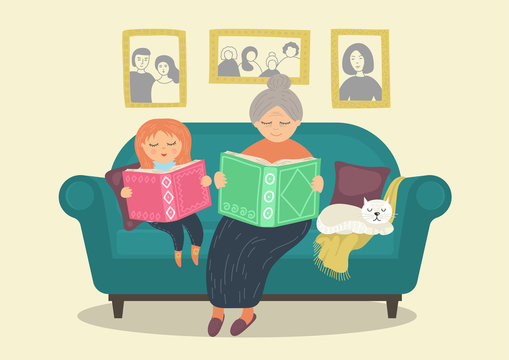 Grandmother reading books with granddaughter on sofa. Heartwarming family concept. Original story time vector illustration.