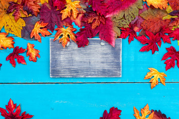 Blank rustic sign with color autumn leaves border hanging on antique teal blue wood background; seasonal background with copy space