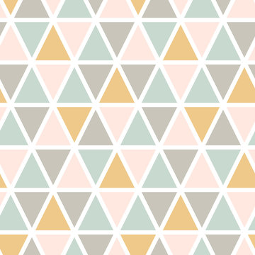 Modern abstract seamless triangle pattern. Scandinavian style. Pastel colors Vector background.