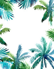 Tropical background with exotic leaves. Watercolor illustration