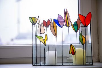 Decorative colored glass product
