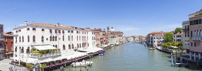 Panorama of the Grand Canal, Venice, Italy from the Scalzi Bridge with ancient palazzos in Cannaregio and Santa Croce