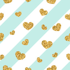 Gold heart seamless pattern. Blue-white geometric stripes, golden confetti-hearts. Symbol of love, Valentine day holiday. Design wallpaper, background, fabric texture. Vector illustration