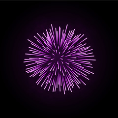 Beautiful pink firework. Bright firework isolated on black background. Light purple decoration firework for Christmas, New Year celebration, holiday, festival, birthday card. Vector illustration
