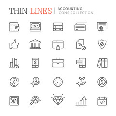 Collection of accounting and bookkeeping line icons