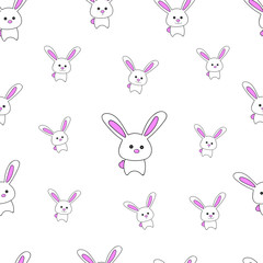 Seamless pattern background design rabbit on white, Vector illustration