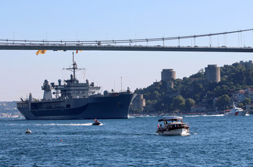 The USS Mount Whitney (LCC-20), flagship of the U.S. Navy's Sixth Fleet, sets sail in the Bosphorus on its way to the Black Sea, in Istanbul