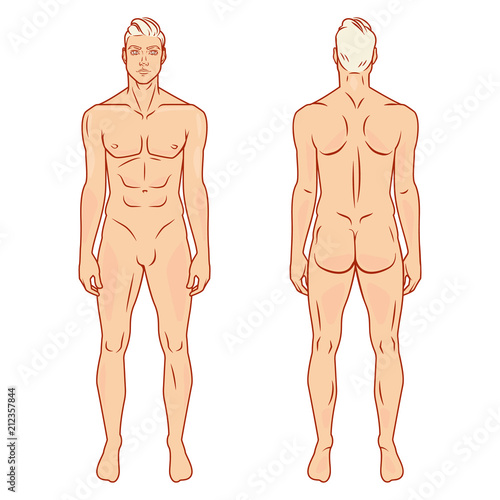 Man Full Body Front And Back View Template Vector Ilration Set