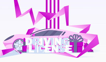 Horizontal design foe flyer or banner with pink sport car, female goods and accessories and lettering 3d word driving licence