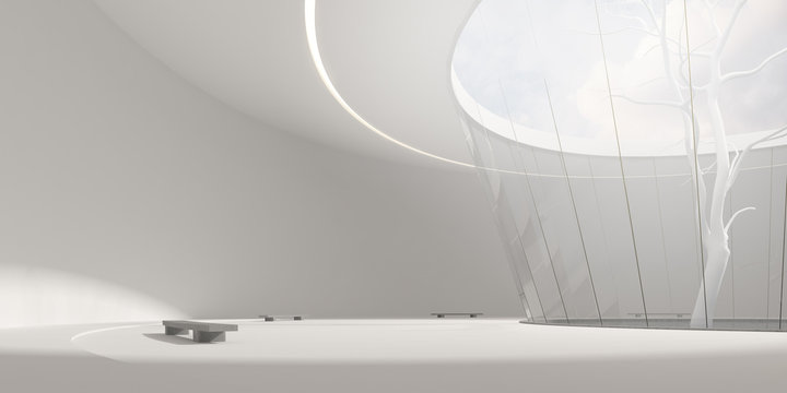 3D stimulate of circle concrete and glass building and white tree with sunlight cast the shadow on the wall and floor,Perspective of minimal design architecture,3d rendering