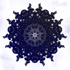 Sacred Geometry. Dark magic night sky Mandala round ornament. Esoteric symbol with dots.