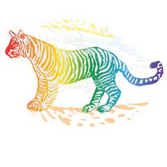 Tiger mit Regenbogenfarben