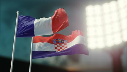 3D Illustration. Two national flags waving on wind. Night stadium. Championship 2018. Soccer. France versus Croatia