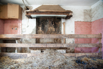 manure inside an old house