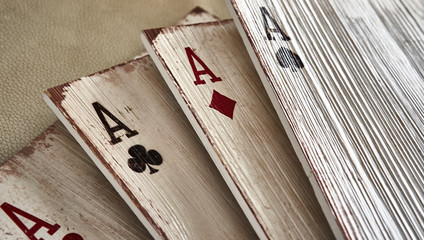 Wooden playing cards aces for decoration