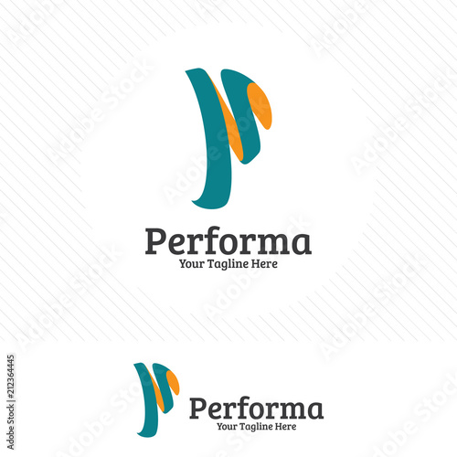 digital letter p logo design vector modern and colorful style