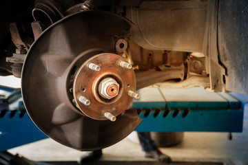 Rusted disc brake and caliper on car with space for text input. Vintage Style. Copy space.