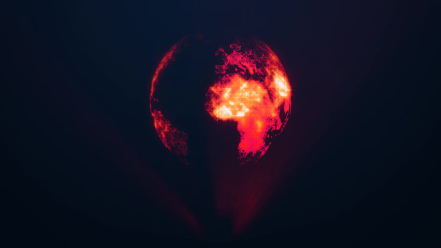 Planet Earth as a red glow hologram. Global digital connections