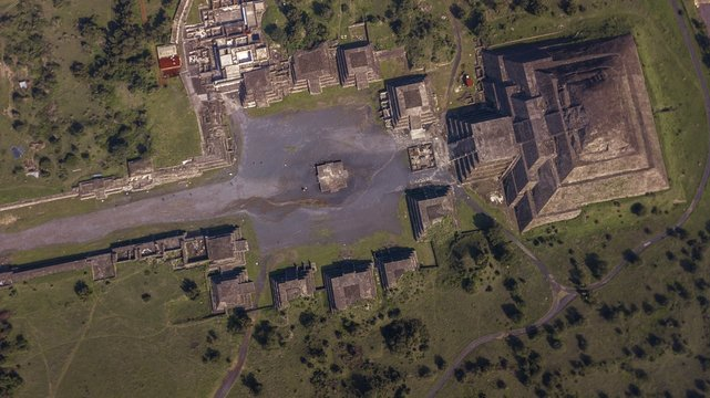 Beautiful aerial view of the Mexican Pyramids of Teotihuacan