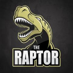 Cartoon emblem of dinosaur on a dark background