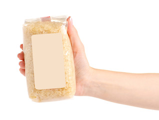 A pack of rice on a white background isolation