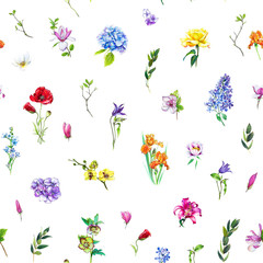 Multi-floral seamless pattern with different flowers. Bright and colorful illustration of a hydrangea, lilac, rose, orchid and other flowers on a white background.