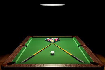 Billiard table with balls and cue in room closeup, 3D rendering