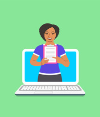 Online fitness trainer concept. Vector flat illustration. Young black woman gym instructor holds a clipboard with training program. Weight loss plan using computer. Healthy lifestyle support by web