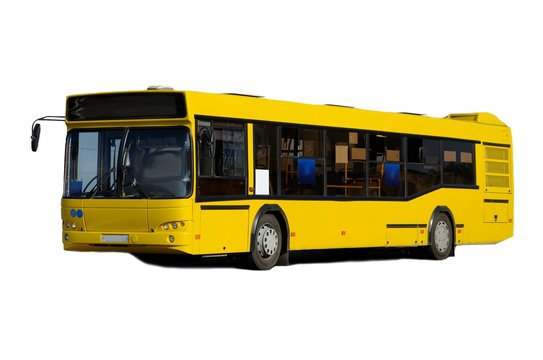 Yellow bus isolated on white background.