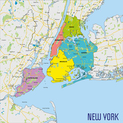 Vector map of New York