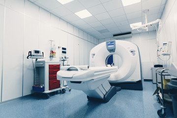 MRI - Magnetic resonance imaging scan device in Hospital. Medical Equipment and Health Care. Professional MRI scanner room in hospital with xray